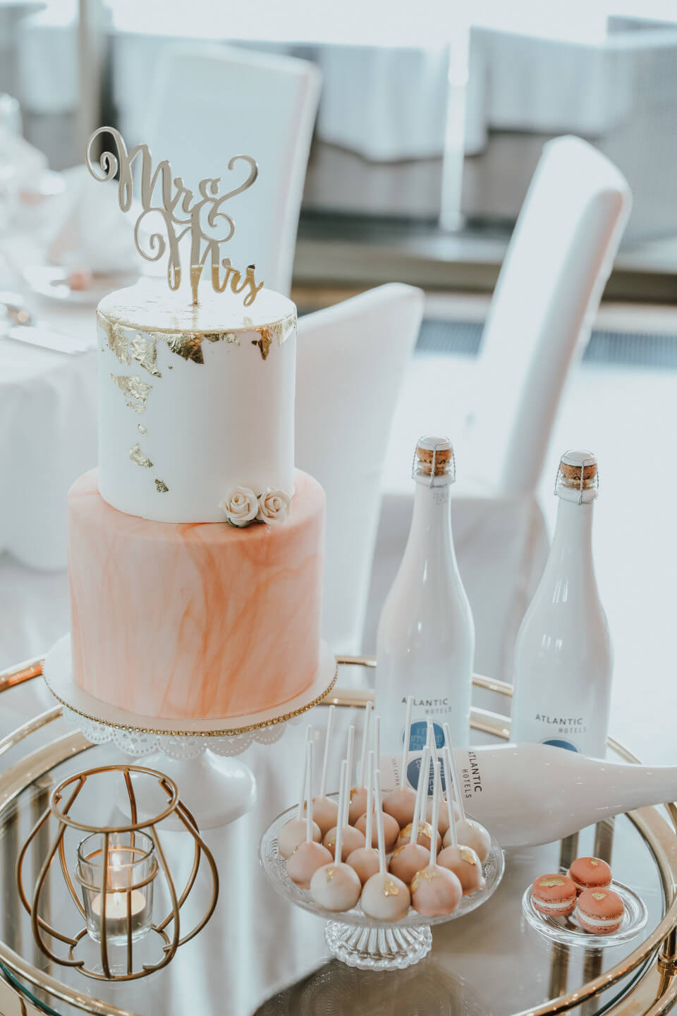 weddingcake and ATLANTIC sparkling wine bottles