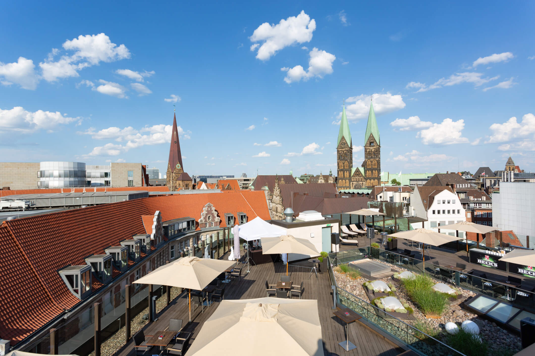 The view from the roof terrace over the rooftops of Bremen