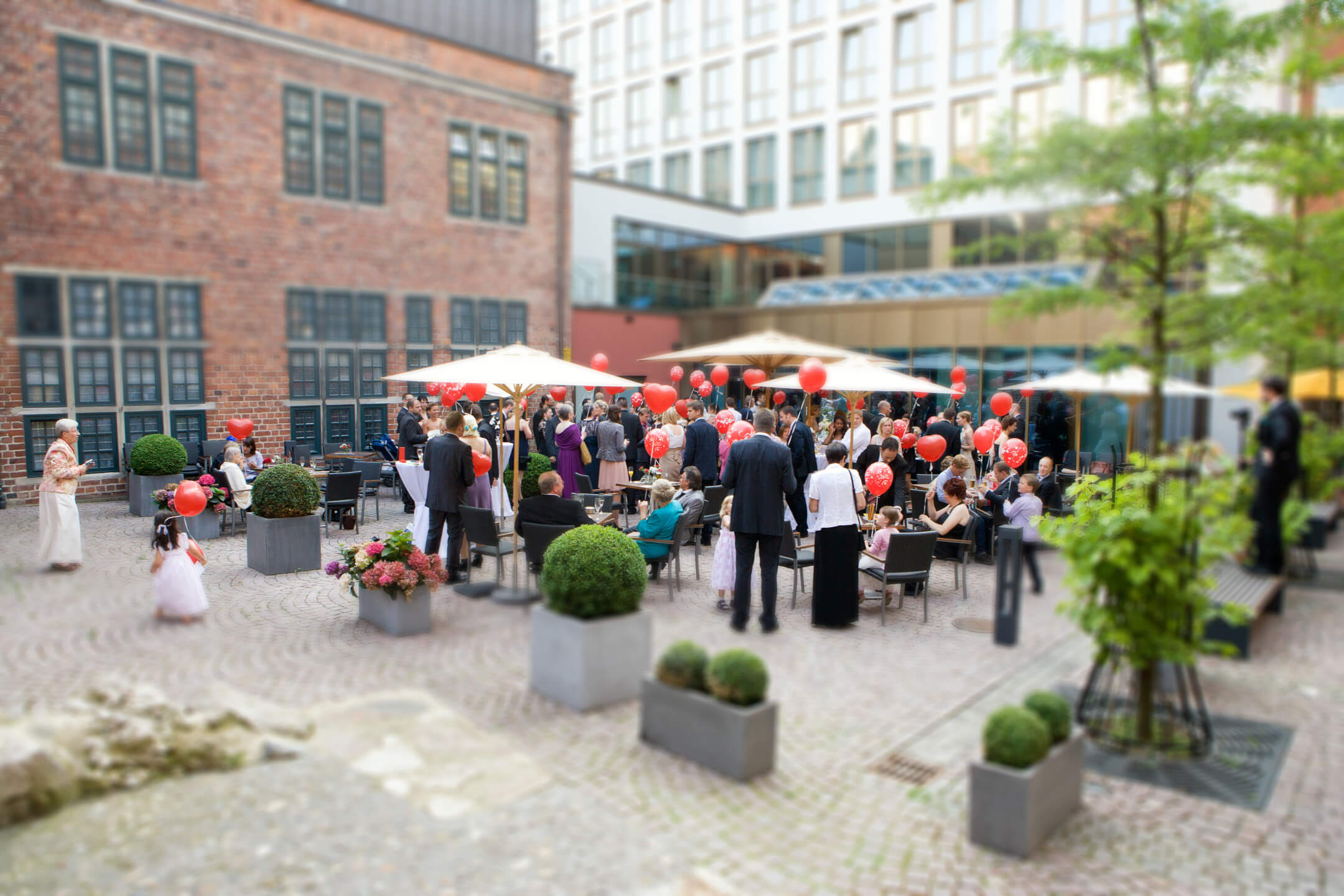Wedding reception in the courtyard garden