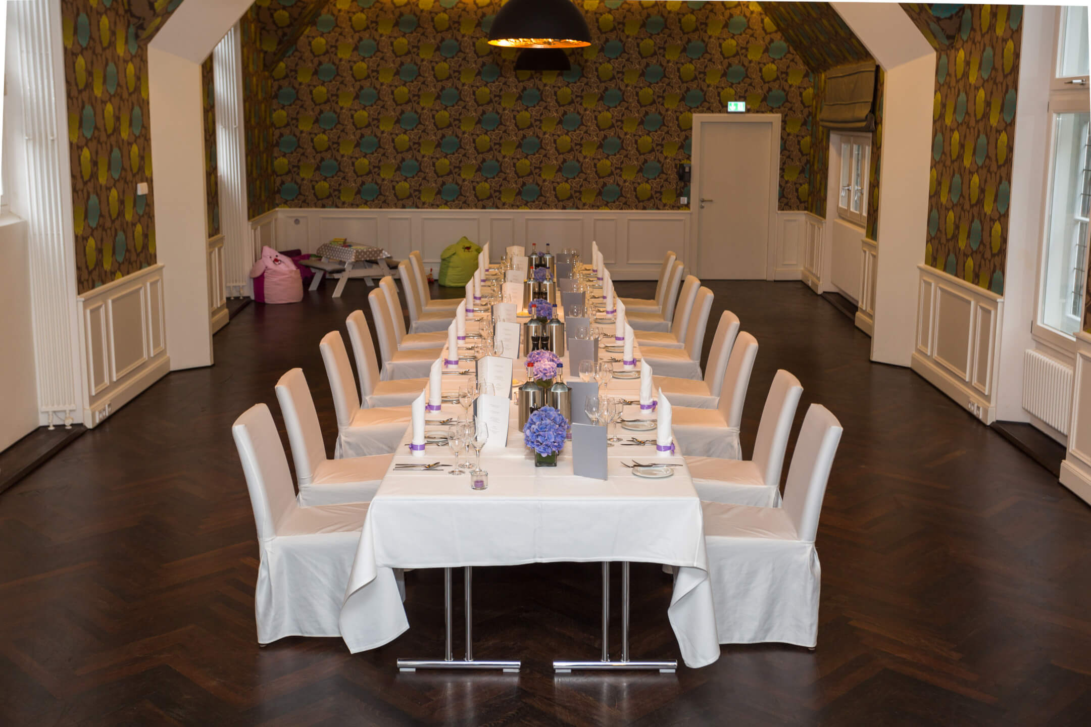 decorated long table in the Scotland Saal