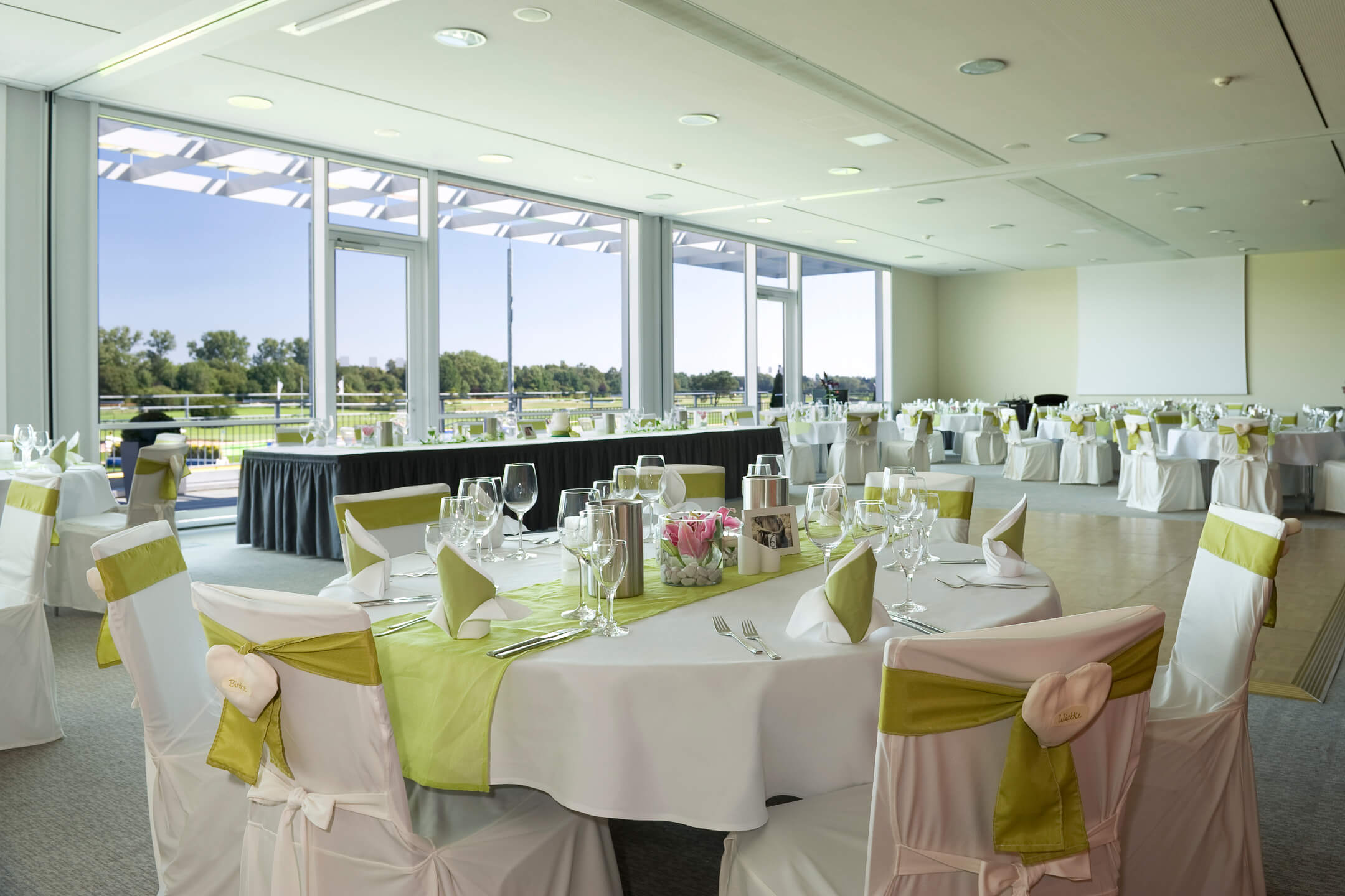 Function room Cheltenham with terrace and wonderful views over the nature