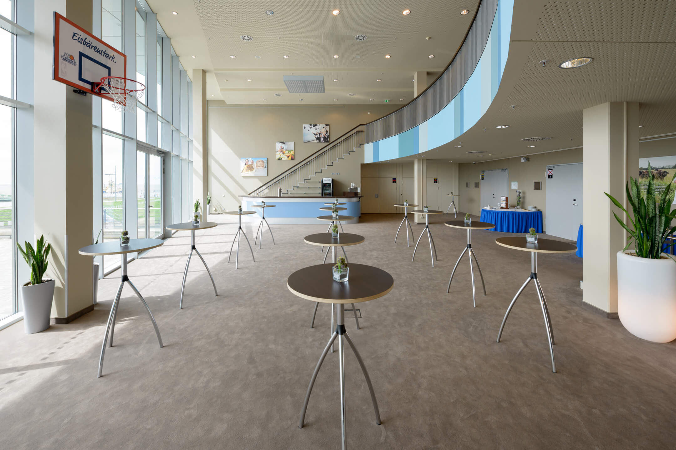 Conference foyer with stand tables