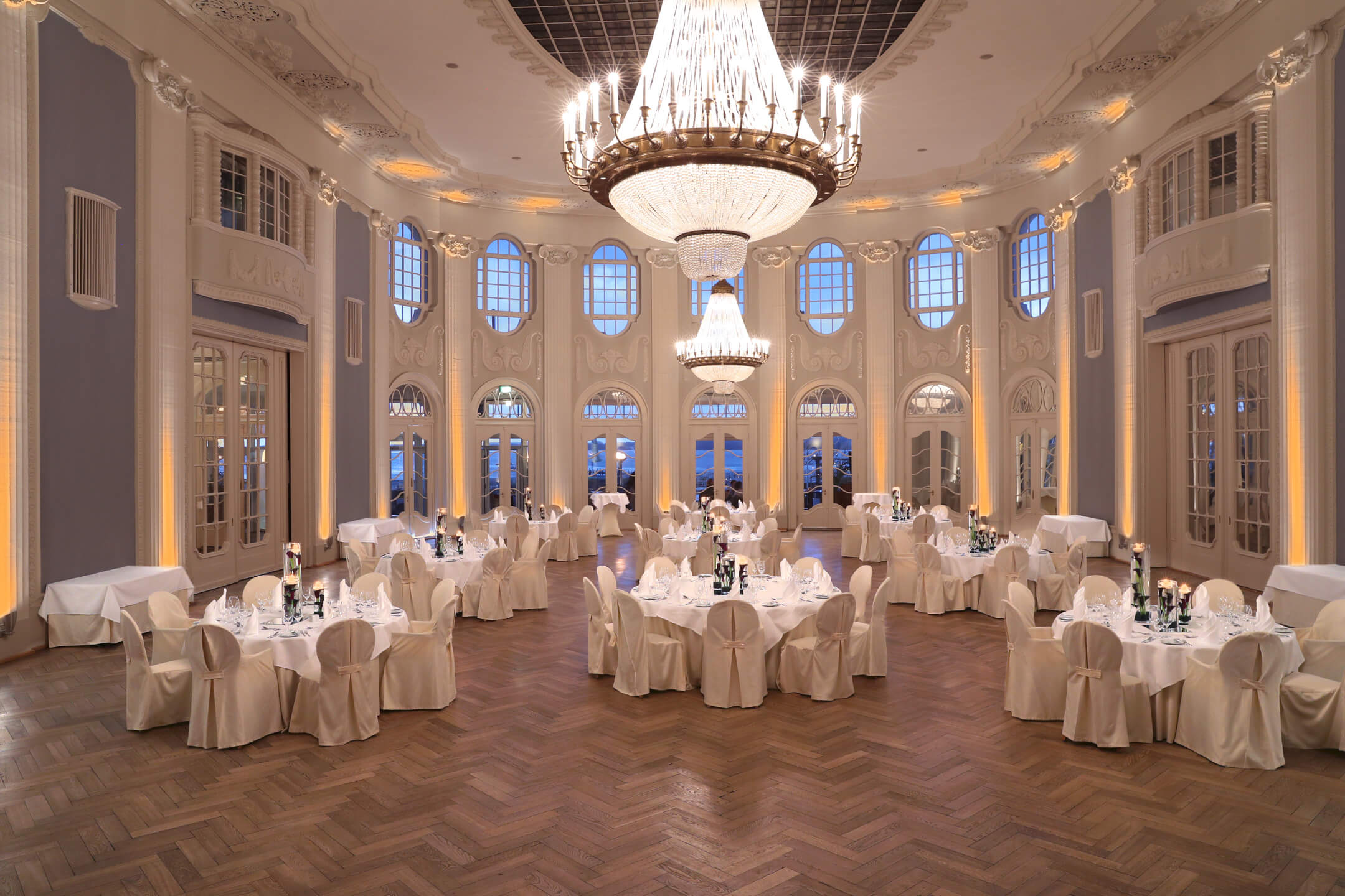 Historic ballroom of the ATLANTIC Grand Hotel Travemünde