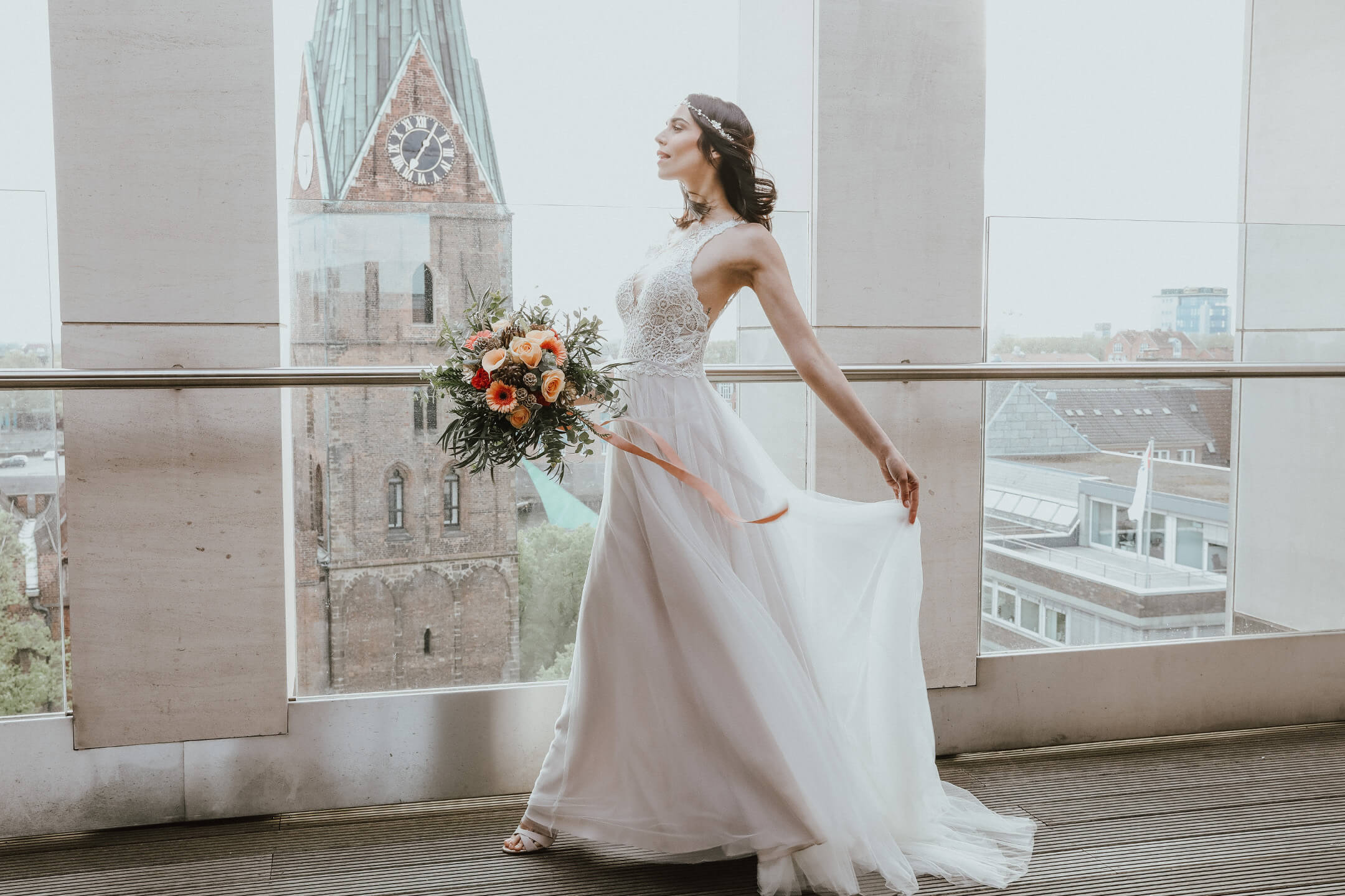 Bride shoot on the roof terrace