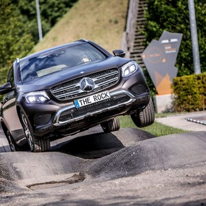 "Mercedes Benz all-terrain vehicle at the obstacle course ""The Rock"""