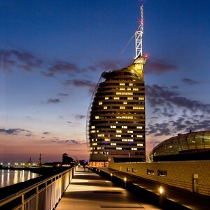 Exterior view ATLANTIC Hotel SAIL City in Bremerhaven by night