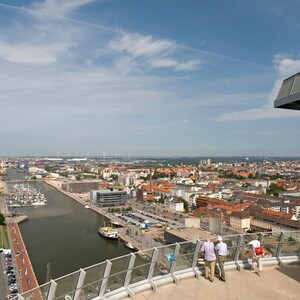View from the observation desk of the ATLANTIC Hotel SAIL City Bremerhaven